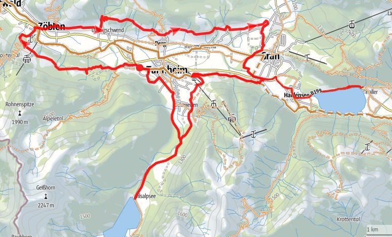Die Radtour vom Haldensee um das Tannheimer Tal bis zum Naturschutzgebiert Vilsalpsee