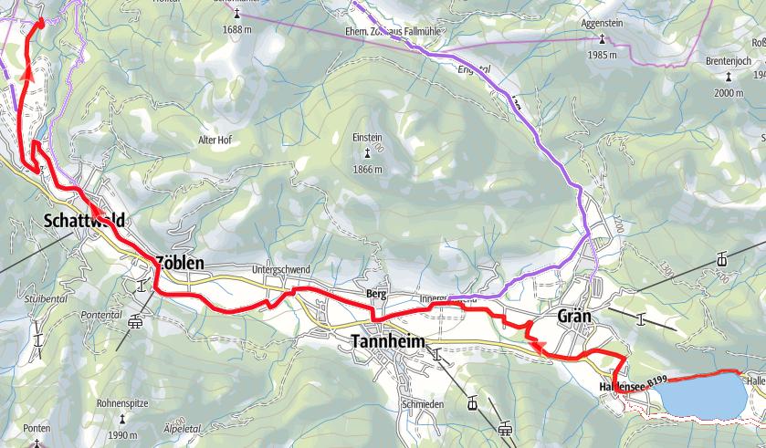 Der Radwanderweg vom Haldensee nach Tannheim
