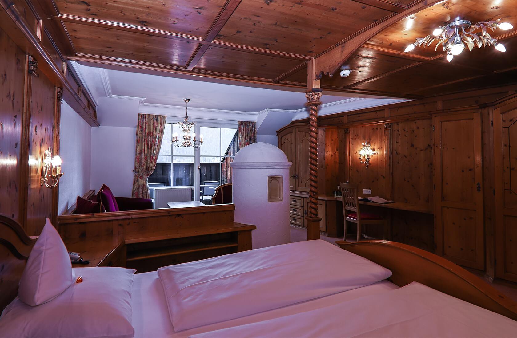 Seeblickzimmer Loggia mit Kachelofen